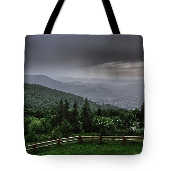 Tote Bag featuring the photograph Rain Over The Silesian Beskids by Dmytro Korol