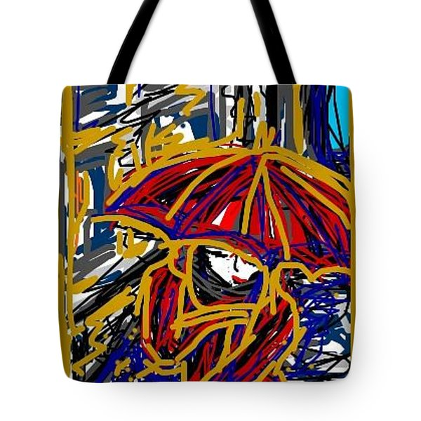 Tote Bag featuring the greeting card Rain by Rae Chichilnitsky