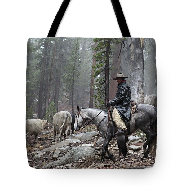 Rain Riding Tote Bag by Diane Bohna