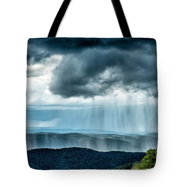 Tote Bag featuring the photograph Rain Shower Staunton Parkersburg Turnpike by Thomas R Fletcher