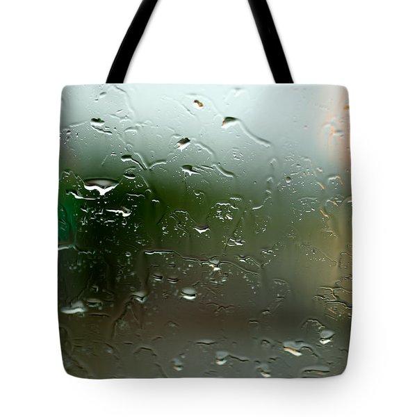 Rain Soaked Glass Window Tote Bag