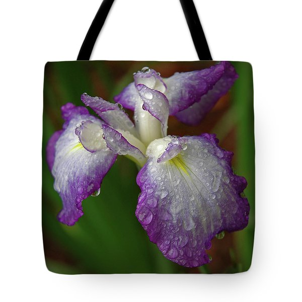 Rain-soaked Iris Tote Bag