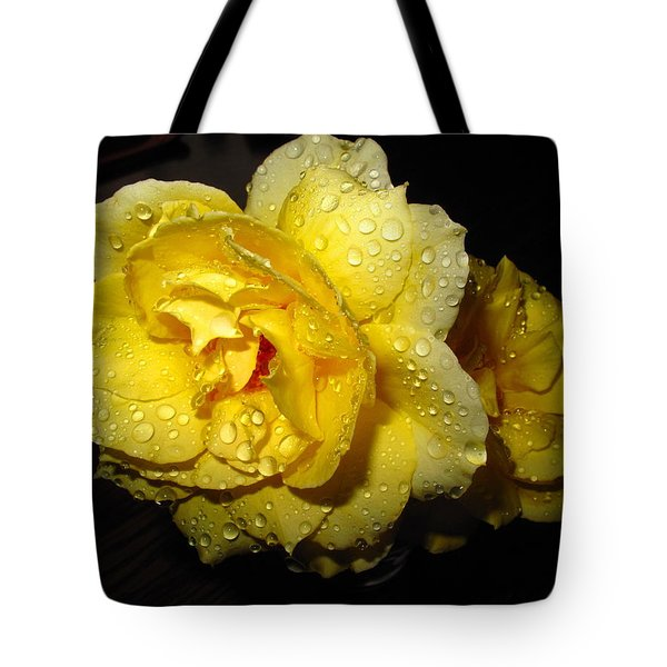 Tote Bag featuring the photograph Rain Soaked Yellow Rose by Joyce Dickens