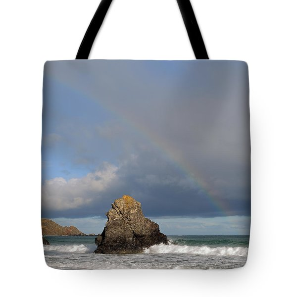 Rainbow Above Sango Bay Sea Stack Tote Bag
