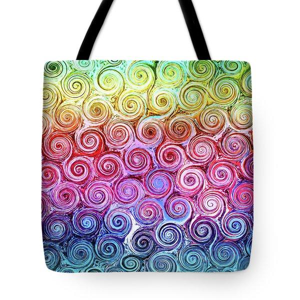 Rainbow Abstract Swirls Tote Bag
