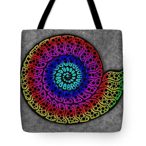 Rainbow Ammonite Tote Bag