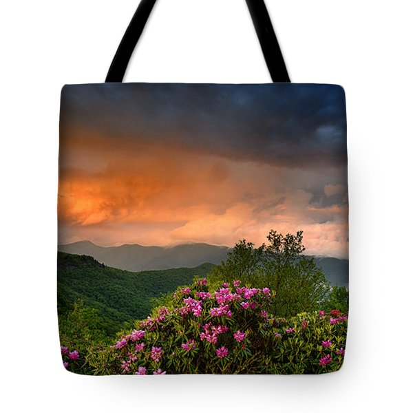 Rainbow And Rhododendrons On The Parkway Tote Bag
