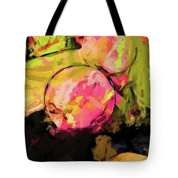 Rainbow Apples Graffiti Green Tote Bag