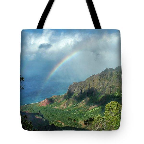Rainbow At Kalalau Valley Tote Bag by James Eddy