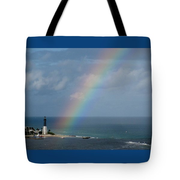 Rainbow At Lighthouse Tote Bag