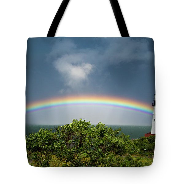 Rainbow At Portland Headlight Tote Bag