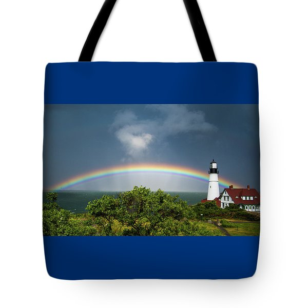 Rainbow At Portland Headlight Tote Bag