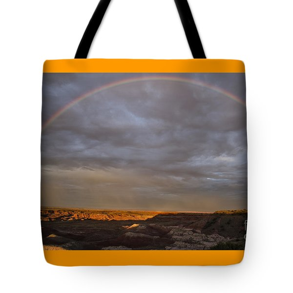 Tote Bag featuring the photograph Rainbow At Sunset by Melany Sarafis