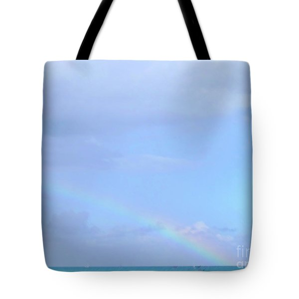 Tote Bag featuring the digital art Rainbow At The Beach 1 by Francesca Mackenney