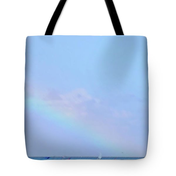 Tote Bag featuring the digital art Rainbow At The Beach 2 by Francesca Mackenney