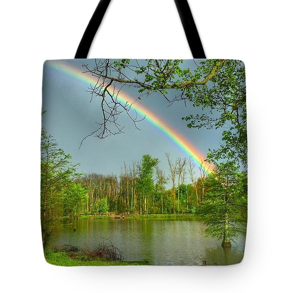 Rainbow At The Lake Tote Bag