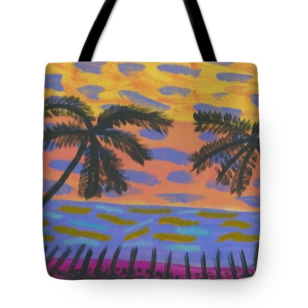Tote Bag featuring the painting Rainbow Beach by Artists With Autism Inc
