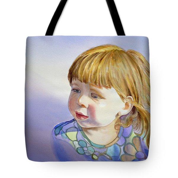 Rainbow Breeze Girl Portrait Tote Bag by Irina Sztukowski