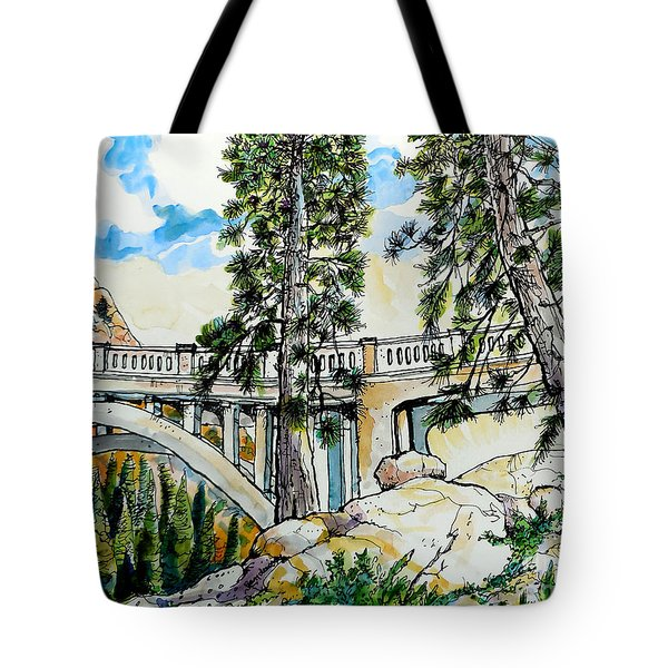 Tote Bag featuring the painting Rainbow Bridge At Donner Summit by Terry Banderas