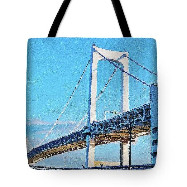 Tote Bag featuring the painting Rainbow Bridge In Tokyo by PixBreak Art
