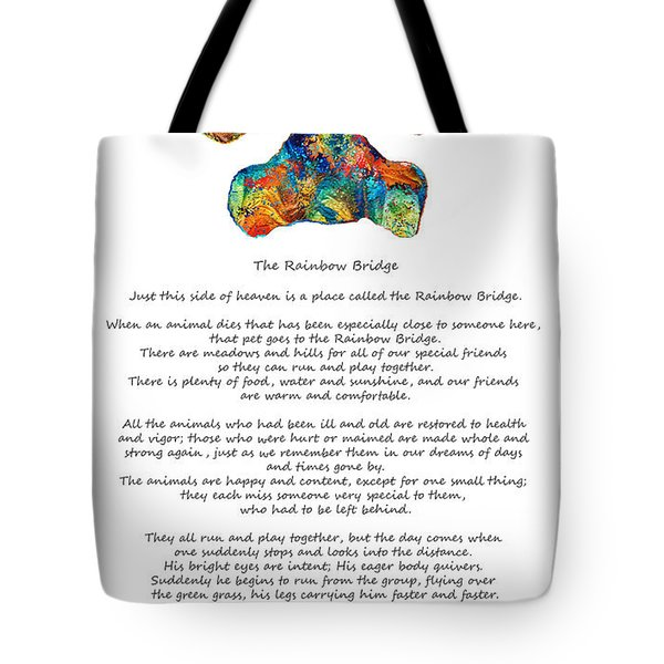 Rainbow Bridge Poem With Colorful Paw Print By Sharon Cummings Tote Bag