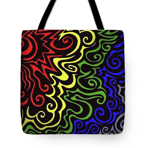 Rainbow Burst Tribal Tote Bag