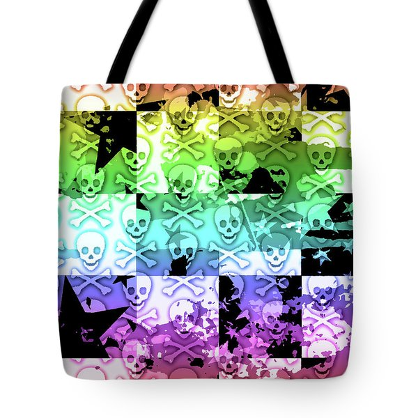 Rainbow Checker Skull Splatter Tote Bag