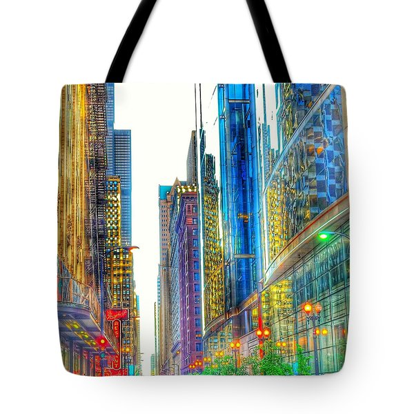 Tote Bag featuring the photograph Rainbow Cityscape by Marianne Dow