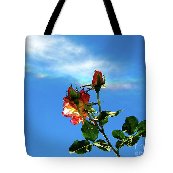 Rainbow Cloud And Sunlit Roses Tote Bag