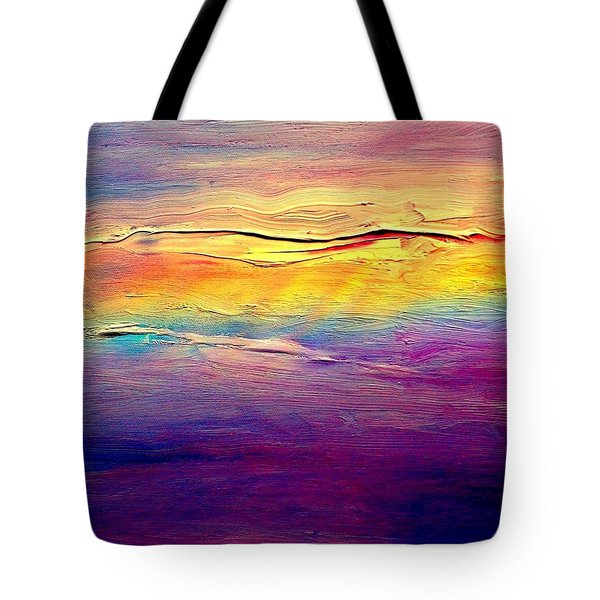 Tote Bag featuring the painting Rainbow Clouds Full Spectrum -dedicated                     by VIVA Anderson