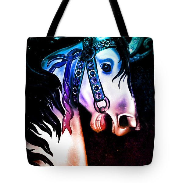 Rainbow Colors Carousel Horse Tote Bag