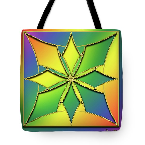 Tote Bag featuring the digital art Rainbow Design 8 by Chuck Staley