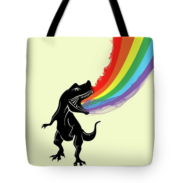 Rainbow Dinosaur Tote Bag by Mark Ashkenazi