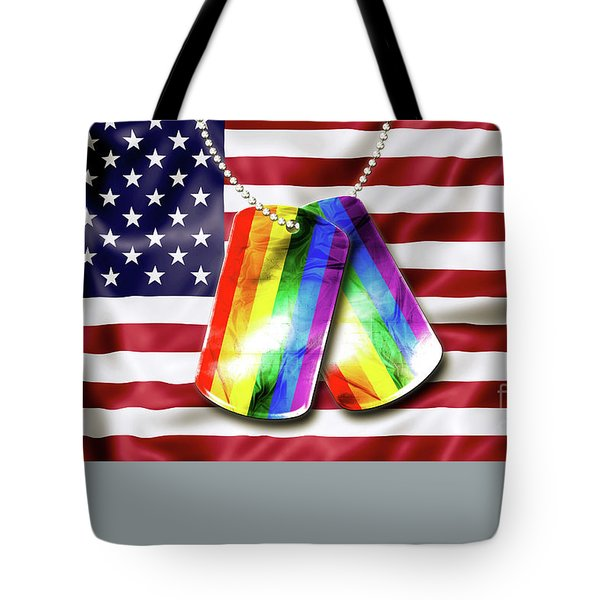 Tote Bag featuring the photograph Rainbow Dog Tags by Benny Marty