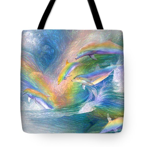 Rainbow Dolphins Tote Bag by Carol Cavalaris