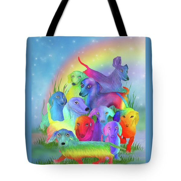 Tote Bag featuring the mixed media Rainbow Dachshunds 1 by Carol Cavalaris
