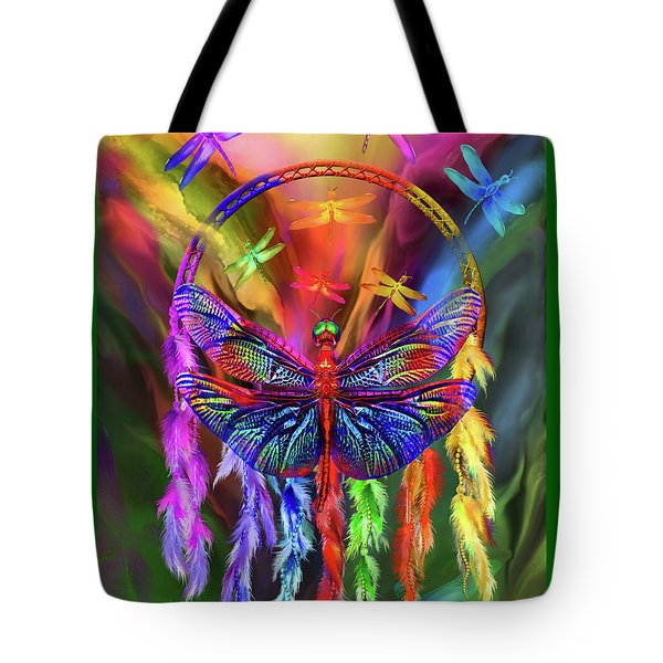 Tote Bag featuring the mixed media Rainbow Dragonfly Dream Catcher by Carol Cavalaris