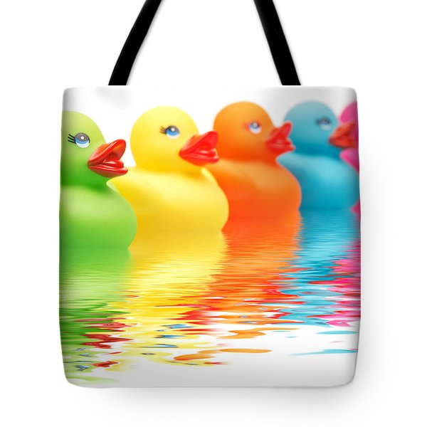 Rainbow Ducks Tote Bag by Martin Williams