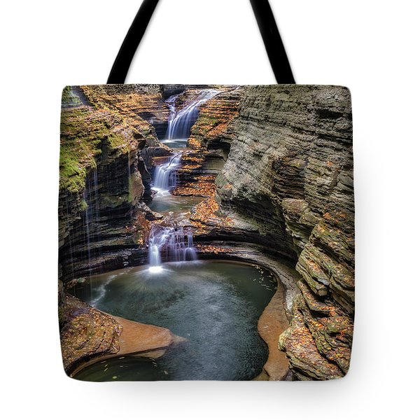 Tote Bag featuring the photograph Rainbow Falls Watkins Glen State Park by Susan Candelario