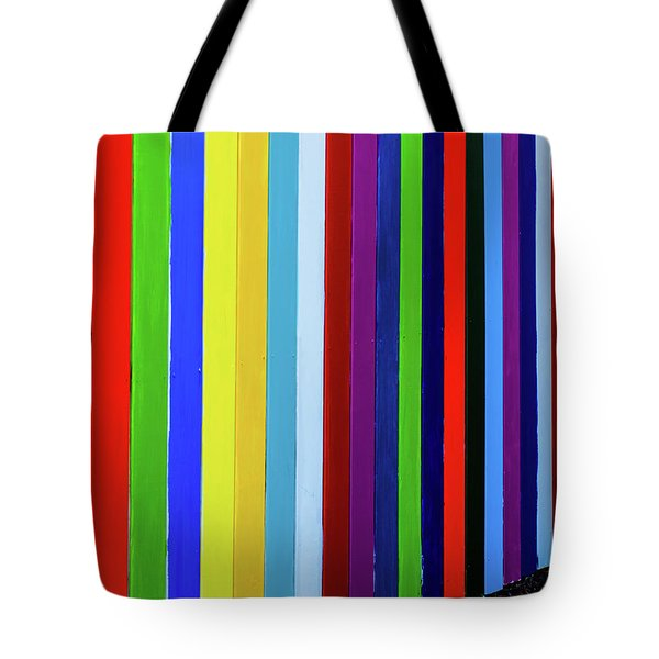 Rainbow Fence Tote Bag