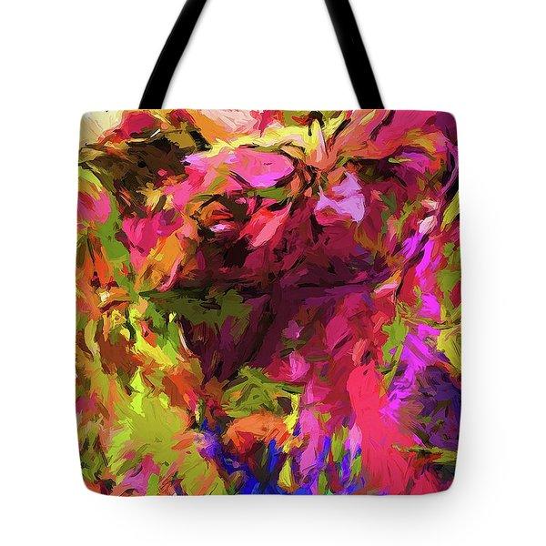 Rainbow Flower Rhapsody Pink Cobalt Blue Tote Bag