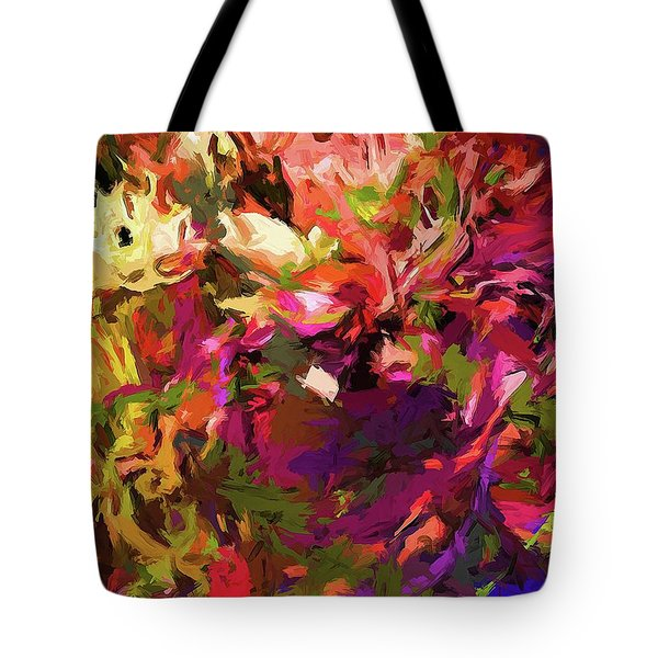 Rainbow Flower Rhapsody Purple Green Tote Bag