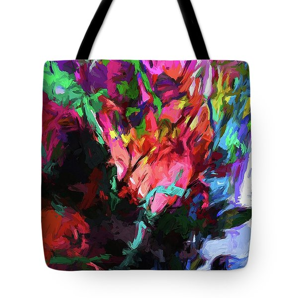 Rainbow Flower Rhapsody Red Turquoise Blue Tote Bag