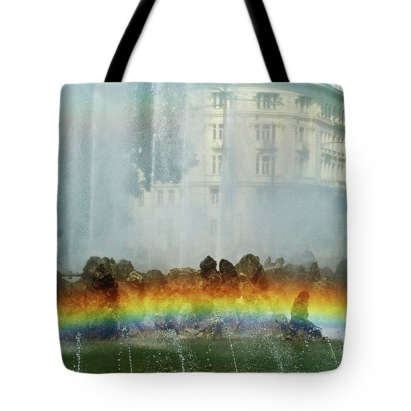 Tote Bag featuring the photograph Rainbow Fountain In Vienna by Mariola Bitner