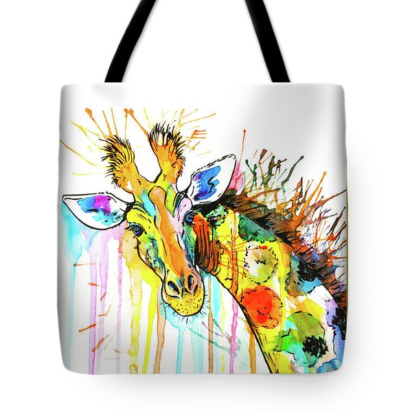 Tote Bag featuring the painting Rainbow Giraffe by Zaira Dzhaubaeva