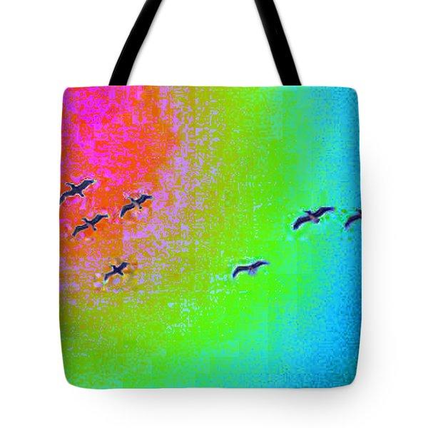 Rainbow Gulls Tote Bag by Tim Allen