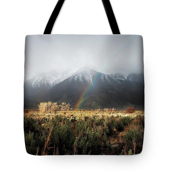 Rainbow In Eastern Sierra Nevadas Tote Bag