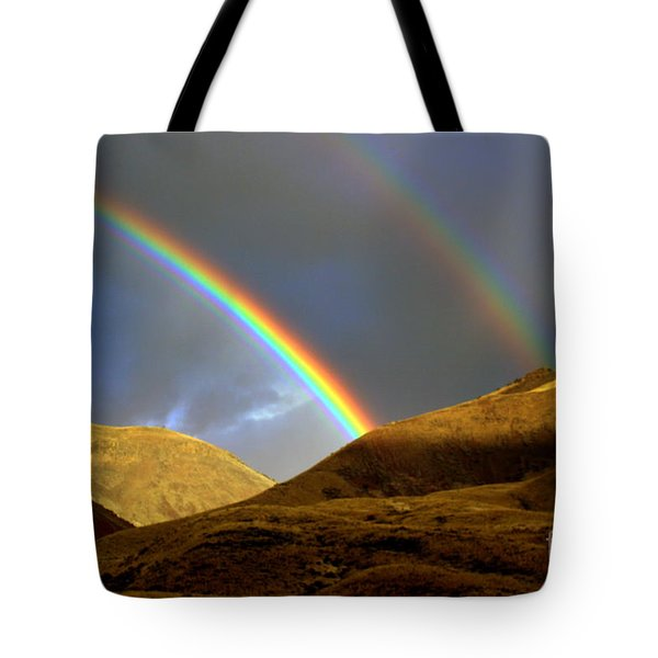 Rainbow In Mountains Tote Bag by Irina Hays