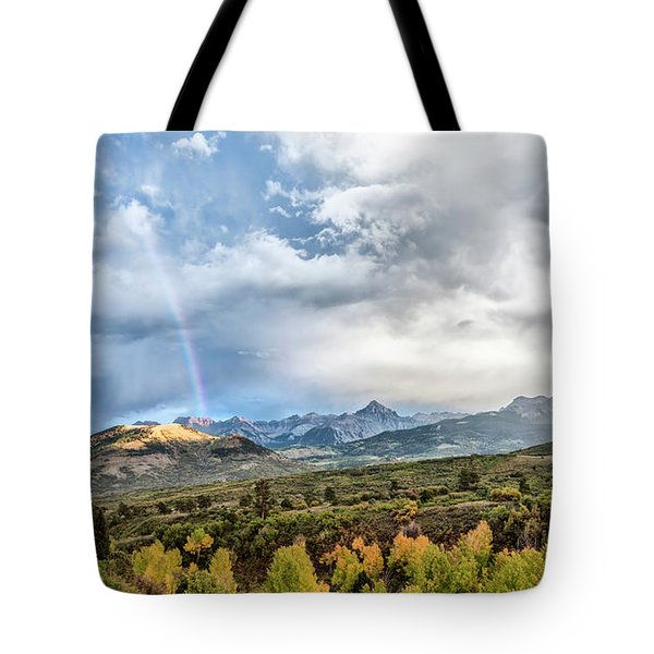 Tote Bag featuring the photograph Rainbow In The San Juan Mountains by Jon Glaser