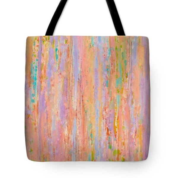 Tote Bag featuring the painting Spring Fusion by Irene Hurdle